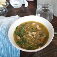Mung bean stew with moringa leaves, Ginisang Munggo na may Malungay