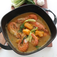 Pumpkin and shrimps in Coconut milk, ginataang kalabasa na may sugpo