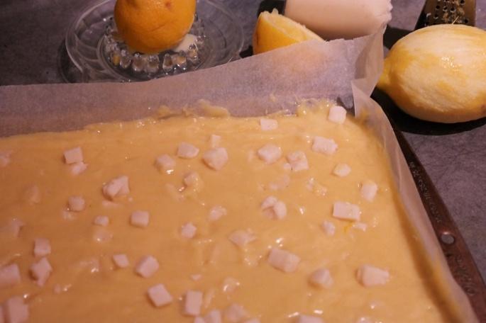 Lemon blondie with marzipan