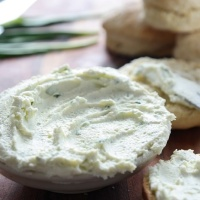 Home made cream cheese with ramson