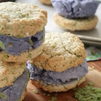Coconut and ube ice cream sandwiches