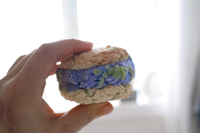Coconut macaroon and ube icecream sandwich