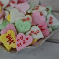 Home made sweet and tart conversation hearts