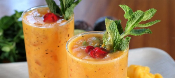 Hott and spicy mango and passion fruit smoothie
