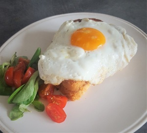 Grilled cheese, French, Fried egg, Crock Madame